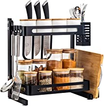 TOLEAD 2 Tier Spice Rack Kitchen Counter Organizer Heavy Duty Multifunctional Seasoning Storage Shelf with 3 Extra Side Ho...