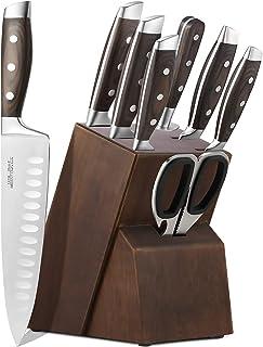 Couteau de Cuisine Professionnel, Ensemble de Couteaux de Cuisine en Acier Inoxydable Allemand 1.4116, Comprend des Ciseau...