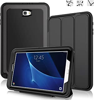 DUNNO Samsung Galaxy Tab A 10.1 Case - Heavy Duty Full Body Rugged Protective Case for Galaxy Tablet SM-T580 T585 T587(NO S Pen Version) with Auto Sleep/Wake Up & Stand Folio Design (Black)