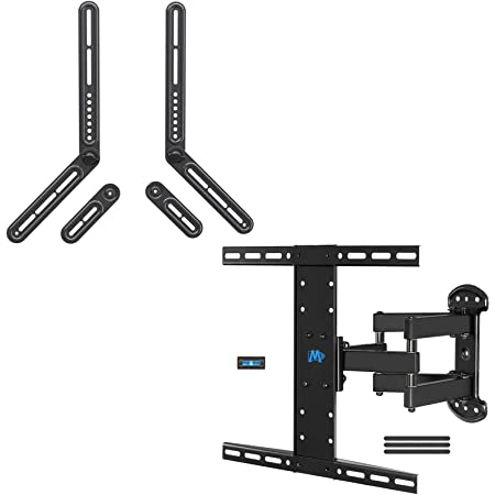 Mounting Dream Full Motion TV Wall Mount and Soundbar Bracket Bundle, TV Bracket for 26-55 Inch TVs, Max VESA 400x400mm and 99 LBS, Sound Bar Mount for Mounting Above or Under TV Up to 22 LBS