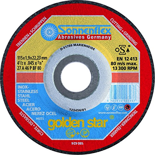 Sonnenflex Golden Star, Disco combinato da taglio e sbavatura leggera, per acciaio INOX, 125 x 1,9 x 22,23 mm, A 46 P BF-ROF