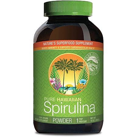 Pure Hawaiian Spirulina Powder 16 Ounce - Natural Premium Spirulina from Hawaii - Vegan, Non-GMO, Immunity Support - Superfood Supplement & Natural Multivitamin ,Green,Powder,1 Pound