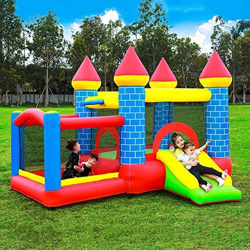 Casa De Rebote Inflable con Soplador, Castillo De Salto Inflable para Niños con Tobogán Y Soportes De Baloncesto para Exteriores/Interiores