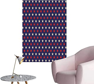 USA Self Adhesive Wallpaper for Home Bedroom Decor Vintage Patriotic True Blue Home Country My Land Birthday Retro Artsy Pattern Living Room Wall Dark Blue Cream Red W16 x H20