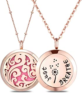 Mesinya 2 Pack 1.18'' Rose Gold Aromatherapy Essential Oil Diffuser Necklace Locket, Stainless Steel Perfume Jewelry Pendant With 2 Chains and 14 Felt Pads Gift Set