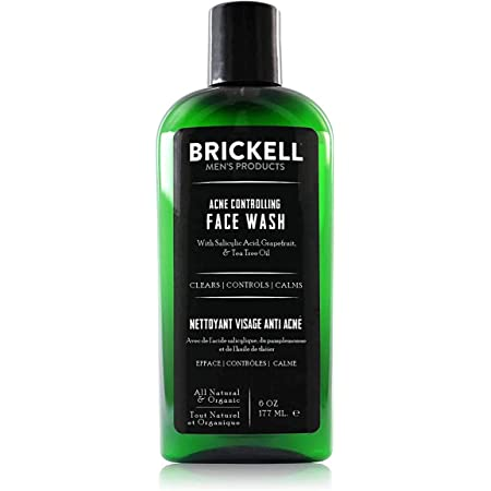 Brickell Men's Acne Face Wash for Men, Natural and Organic Men's Acne Face Wash to Cleanse Skin and Eliminate Acne, Clears Breakouts, 2% Salicylic Acid, 6 Ounces