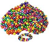 Wandefol 800pcs Cuenta de Madera, Surtidos de Abalorios, Cuenta de Colores, Perlas de Madera, Cuenta de Madera DIY 6mm 8mm 10mm 12mm para Juguete de Niños Colores Surtidos DIY Manualidades
