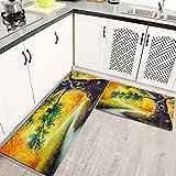 Alfombras Cocina Lavable Antideslizante Pequeño búho en Amarillo Hermoso Tradicional, Alfombrilla de Goma Alfombra de Baño