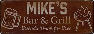 My Beer Cozy Mike's Bar and Grill Friends Drink for Free, 6 x 16 Inch Metal Sign, Personalized Barbecue Bar Accessories and Wall Decorations, USA Made, Rustic BBQ Decor, Vintage Distressed Look