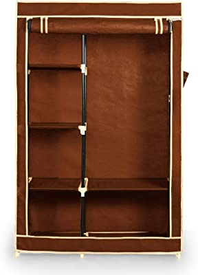 FOLDDON Foldable Wardrobe Convinient Single Door / 6 Shelves with Hanging Space (Brown)