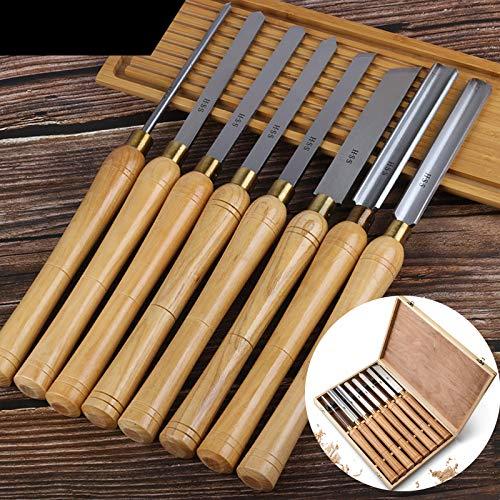 8 Stück Holz Drechselwerkzeug Schnitzwerkzeuge, Drechselmesser Set, Drechseleisen Drehmeißel, Drechsel-Werkzeuge Für Anfänger Und Hobby-Drechsler Für Das Drechseln Mit Drechselbank in Holzbox