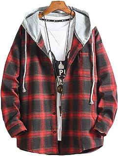 Masvis シャツ メンズ チェック柄 ジャケット チェックシャツ フード付き パーカー ボタンアップ アウター 大きいサイズ カジュアル 春 秋