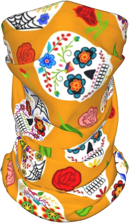 Sugar Skulls Rose Neck Gaiter Multipurpose Headwear Ice Silk Mask Scarf Summer Cool Breathable Outdoor Sport 2 PCS