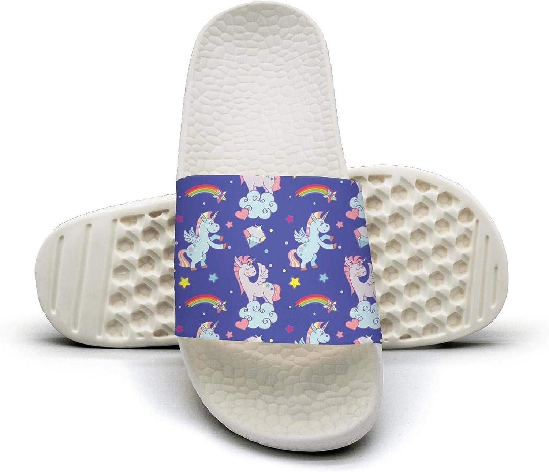 Ina Fers.Slide Sandals For Women Cute Unicorns Clouds Rainbow Magic Wand bluee Indoor Bath Slipper Anti-Slip House Sandal
