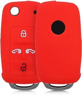 kwmobile Autoschlüssel Hülle kompatibel mit VW Seat 4 Tasten Klapp Autoschlüssel   Silikon Schutzhülle Schlüsselhülle Cover in Rot