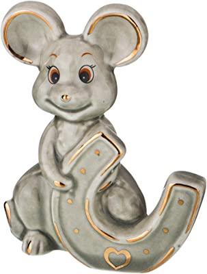 Lefard 3.2 Inch Feng Shui Gray Mouse with Horseshoe - Hand Crafted and Decorated Fine Chinese Porcelain, Figurine 149-593