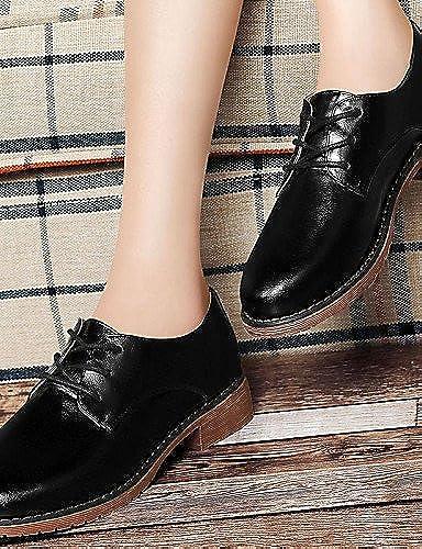 NJX  2016 zapatos de mujer - Tacón Bajo - Comfort - Oxfords - Boda   Oficina y Trabajo   Casual - Semicuero - negro   Caqui