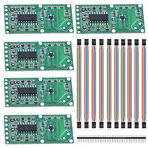 Youmile 5PACK Mikrowellenradarmodul RCWL-0516 Sensor für Bewegungsinduktionsschalter des menschlichen Körpers 4-28 V 5-7 m Erfassungsabstand für Arduino mit Dupont-Kabel, 40-poliger Header