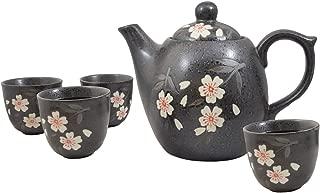 Happy Sales HSTS-WPB08, Japanese Design Black Porcelain Tea set White & Pink Blossom Sakura Cherry Blossom