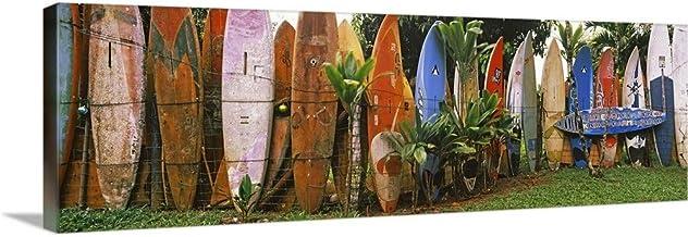 "Arranged Surfboards, Maui, Hawaii Canvas Wall Art Print, 60""x20""x1.25"""