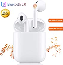 Bluetooth Earbuds, White Wireless Earbuds in-Ear Headphones Hands Free Noise Cancelling Headset Compatible with iPhone XR X 8 8plus 7 7Plus 6 6plus Samsung Galaxy S9 S8 Huawei & Other Apple Airpods Di