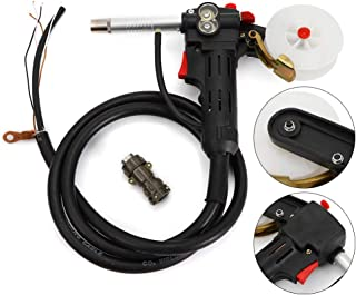 Mig Welding Spool Gun w/ 2m Wire Cable Flux Welding Torch Stinger Replacement Push Pull Feeder Electric Welder Toothed Roller for MIG MAG Welding Machine