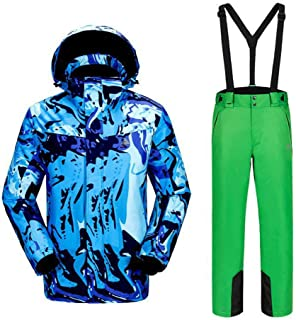 Windproof Waterproof Warm Ski Suit Outdoor Breathable Wear-Resisting Ski Jacket+Ski Suspender Trousers