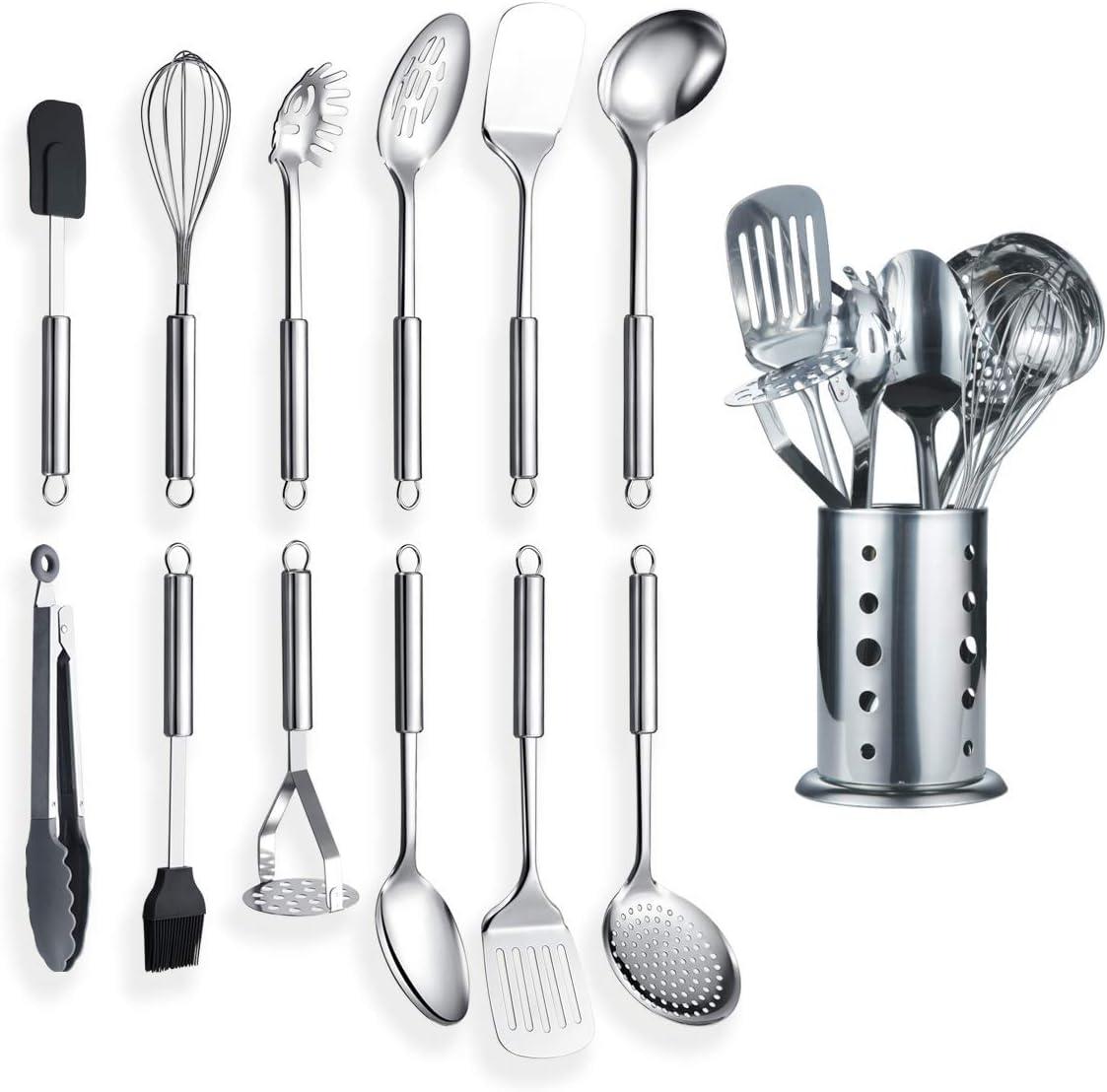 Berglander Utensilio de cocina de acero inoxidable de 12 piezas con 1 soporte, cuchara de cocina, utensilios de cocina Utensilio de cocina con soporte. (13 piezas)