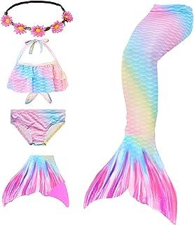 Traje de baño de Cola de Sirena para niñas 5 Piezas Bikini Conjuntos de Traje de baño con Diadema de Flores y monoaleta pa...