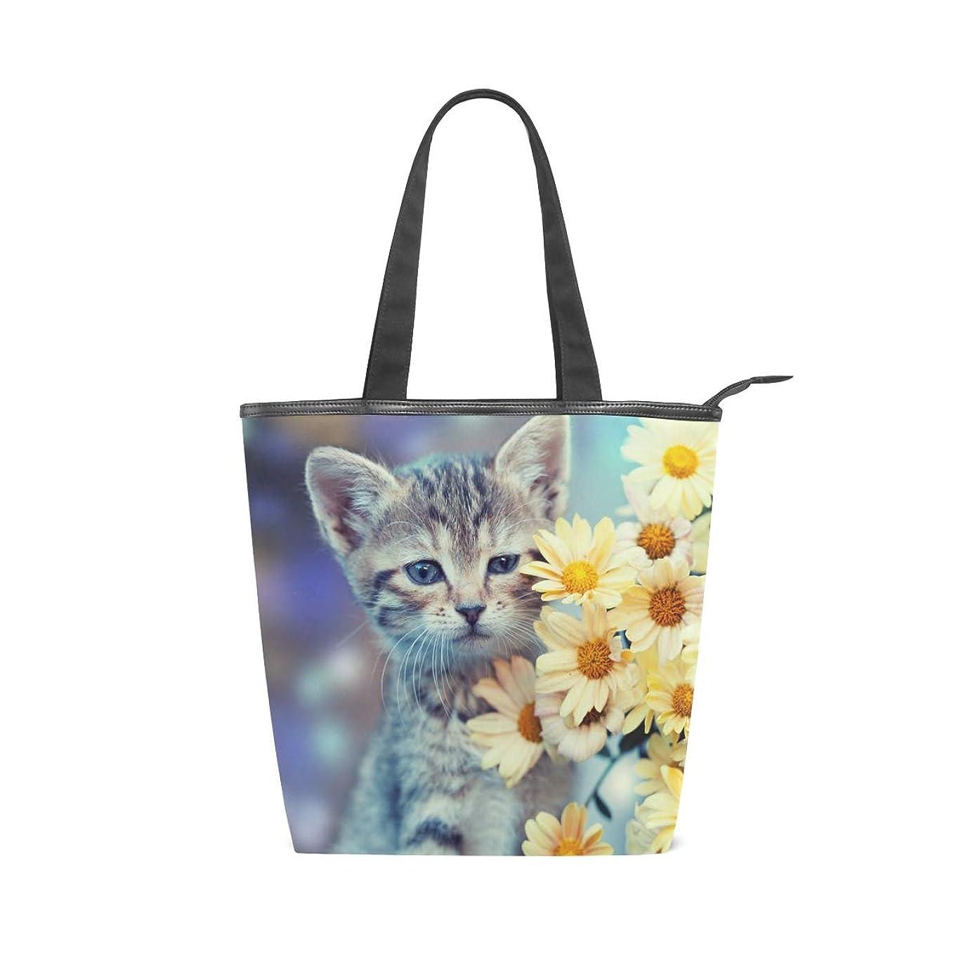 見てネストスツールキャンバスバッグ トートバッグ ハンドバッグ 手提げ 子猫と花柄 可愛い 大容量 通勤通学 メンズ レディース