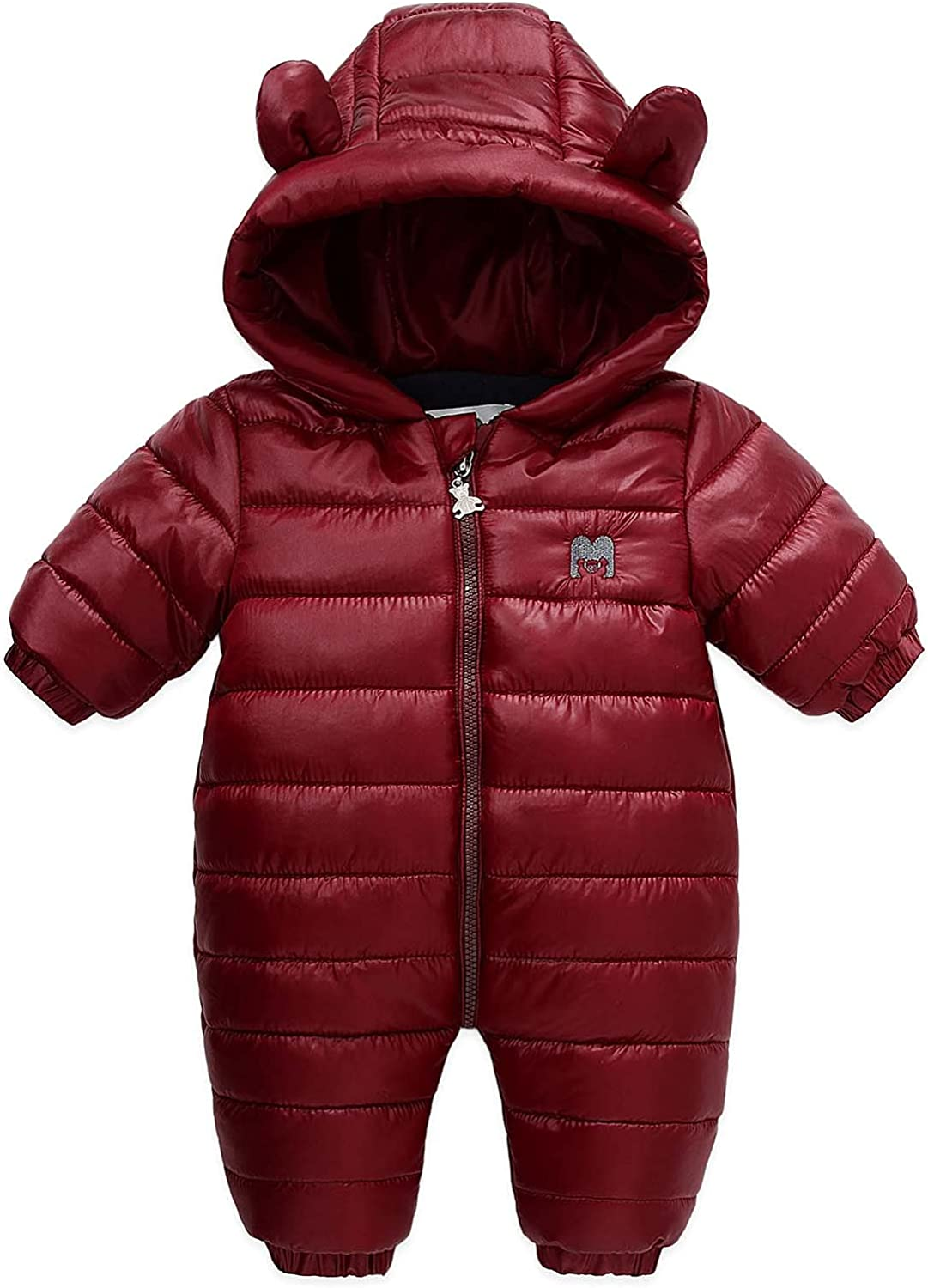 Baby Winter Candy Color Jumpsuit Snowsuit with Hood Zipped Toddler Outfit