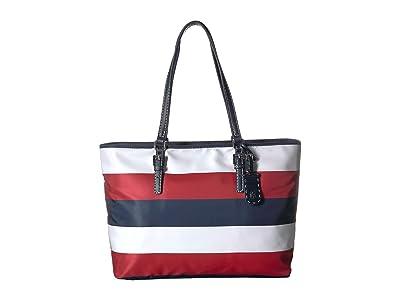 Tommy Hilfiger Julia Tote Rugby Nylon (Navy/Natural) Handbags