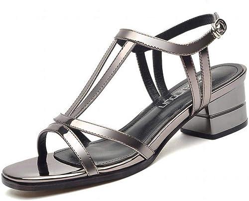 LTN Ltd - sandals Sandales épaisses Romaines Femme Vent de Fée avec des Chaussures D'été Simples Chaussures pour Femmes, Couleur de Plomb, 39