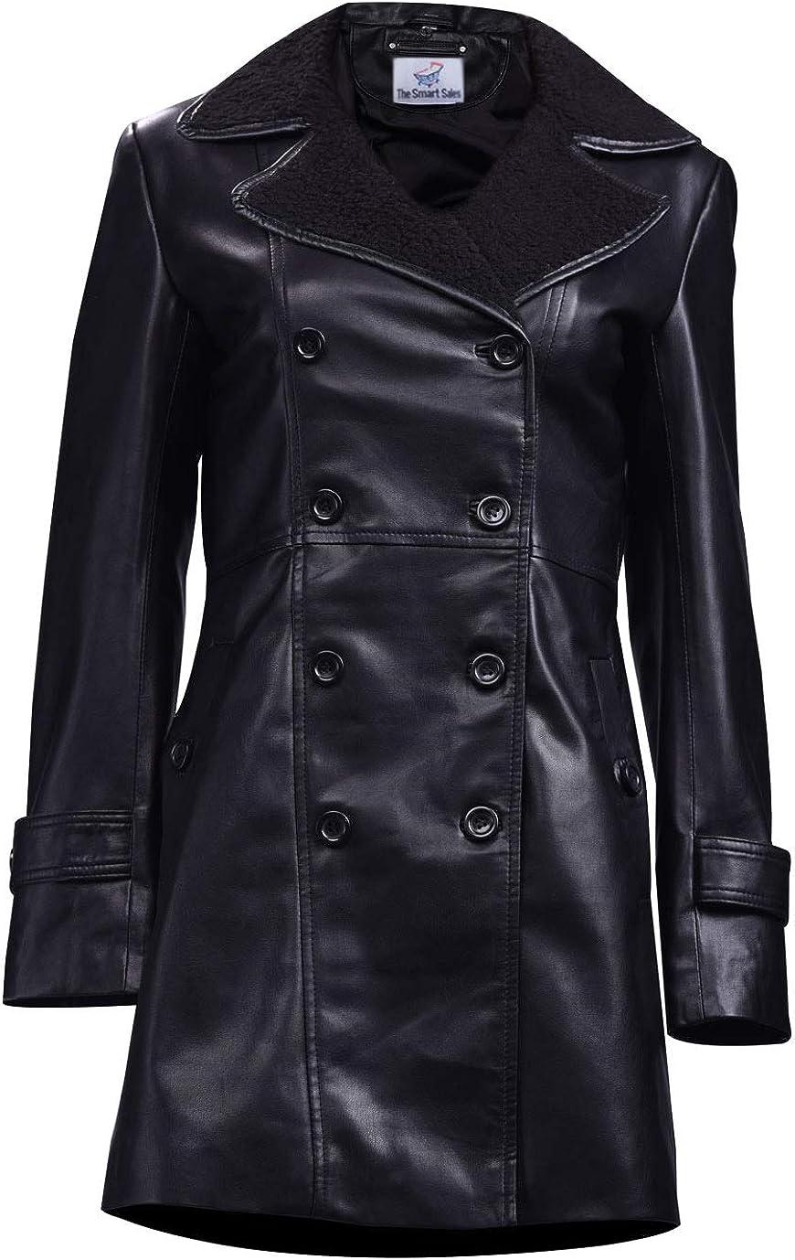 TheSmartSales Black Womens Classic Long Coat Faux Leather Jacket