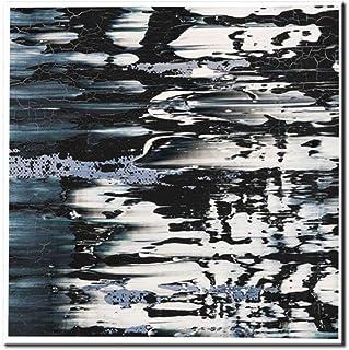 Pinturas Al Óleo Sobre Lienzo,100% Pintado A Mano Onda De Agua Abstracto Negro Hermoso Arte,Textura Cuchillo Pinturas Cartel Casa Moderna Decoración De Pared Pintura Sin Cerco Don,44X44Pulgadas