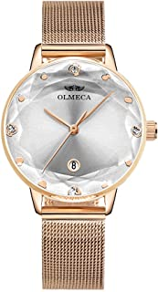 OLMECA Womens Watch Gilrls Watches Luxury Diamonds Waterproof Wristwatch Stainless Steel Milanese Band Pink Color (D Rose White)