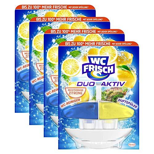 WC FRISCH Duo-Aktiv Mediterrane Zitrone, WC-Reiniger und Duftspüler, 4er Pack (4 x 1 Stück)