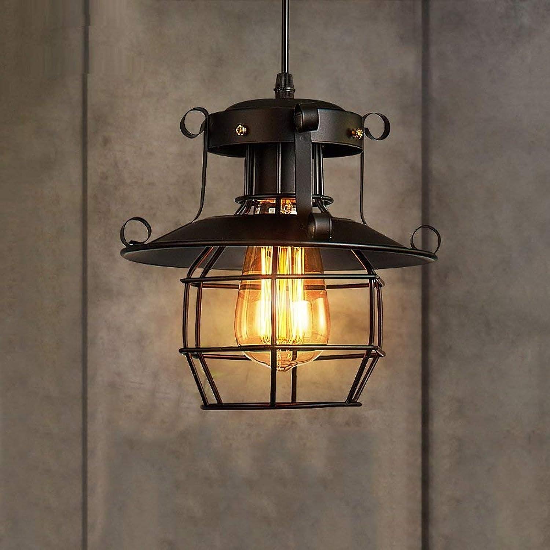 ZHAS Eisen Pendelleuchte, schwarz, AC 110V-240V American Retro Industrial Bar Restaurant Wohnzimmer Küche Kronleuchter WSHceilingLamp