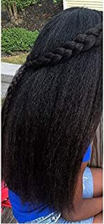 Moresoo 24 Inch Clip in Human Hair Extensions Brazilian African American Kinkys Straight Clip in Hair Extensions Natural Clip ins For Black Women