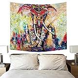 Tapiz Mandala moderno tapiz alfombra de Yoga tapicería pared decoración para apartamento Dortoir cámara salón mesa sofá manta cuadrado toalla de playa (200x 150cm, India elefante)