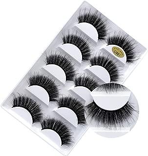 False Eyelashes - 3D Faux Mink Fake Lashes Dramatic Eyelashes Handmade Reusable Thick Crossed Cluster Wispy Black Natural Fluffy Long Soft False Lashes 5 Pairs (G801)
