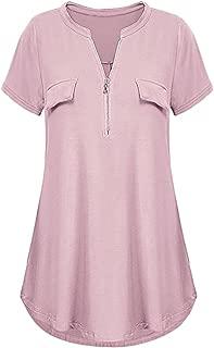 WUAI-Women Henley V-Neck Short Sleeve Flowy Shirts Casual Zip Summer Blouse Tops
