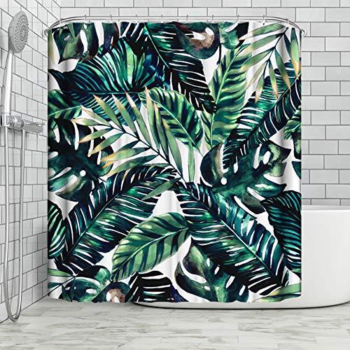 Duschvorhang, Stoff, bedruckt, wasserdicht, 180 x 180 cm, dunkelgrün lackiert, Bambusblätter, wasserdicht & schimmelresistent, weißer Polyesterstoff, Badezimmervorhang