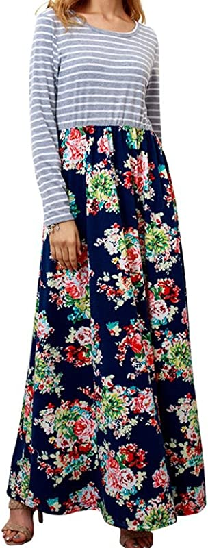 Rambling Women S Casual Striped Long Sleeve Floral Print Bohemian Tank Dresses Party Evening Long Maxi Dresses With Pockets