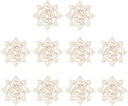 Hemobllo 10pcs Christmas Hollow Star Embellishments Christmas Unfinished Hanging Wooden Bauble Natural Wood Slices with Ho...
