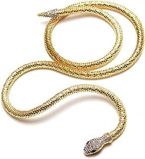 Tvoip الأزياء كولير فام مجوهرات كاملة حجر الراين الملحقات الذهب الفضة كريستال ثعبان قلادة طويلة قلادة. (ذهبي)