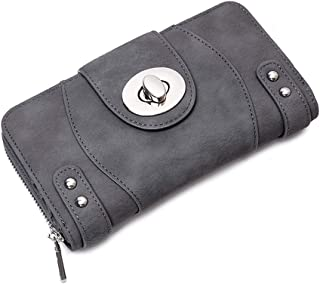 GERINLY Phone Clutch Wallet for Women Grey Smart Evening Leather Purses and Handbag
