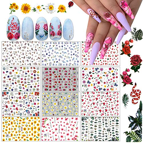 Kalolary 12 Sheets Flowers Nail Stickers Decals for Women, Fresh Flower Nail Decals Flower Nail Design Nail Art Stickers for Fingernails Decor Manicure Decorations Nail Art Accessories