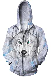 UkEdNs Harajuku Forest Print Hoodies Zipper Jacket Mens Sweatshirt 3D Trees Hooded Pullover Hip Hop