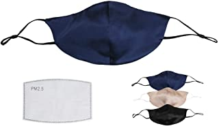 K meet Q Silk Face Mask for Women & Men, Reusable, Washable, with Filter Pocket and Nose Wire #B (Dark Blue)